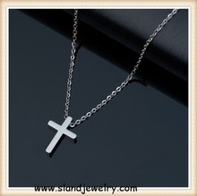 high polish stainless steel dainty cross necklace - delicate everyday jewelry, gift for her under 3 usd