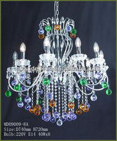 multi color crystal chandelier/multi colored glass chandelier