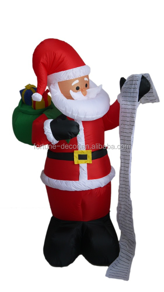 180cm/6ft inflatable santa claus with gift bag look the detailed list for christmas decoration