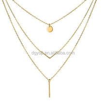 Inspire stainless steel jewelry 18k gold Triple Layered Pendant Choker Necklace for Women