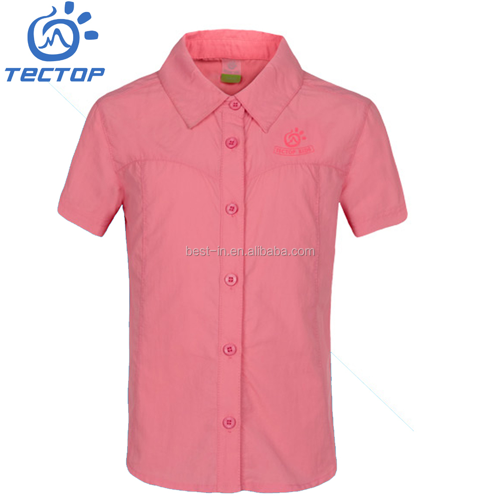 2016 New Style outdoor kid short-sleeved collar branded T-shirt quick dry 100%nylon