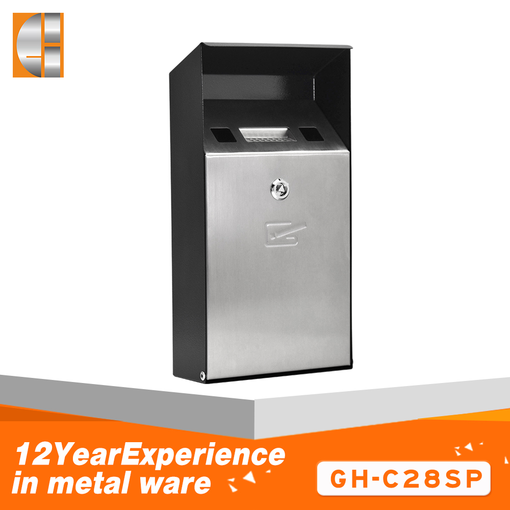 Stainless steel ashtray stand trash bin