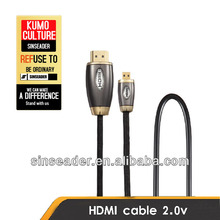 Micro HDMI Cable to HDMI Cable (D Type) with Ethernet for Cellphone TV Out Cable