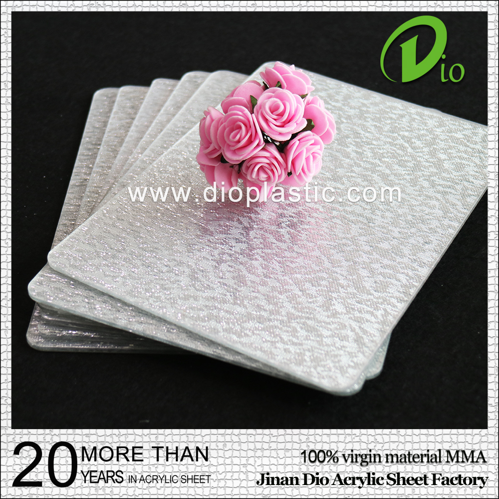 PMMA sheet 100% virgin plastic 3mm silver/gold cloth acrylic sheet
