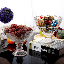 Decorative tableware fancy glass fruit bowl with stem