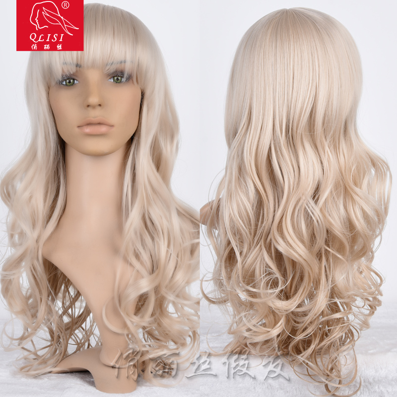 Curly Hair Blonde Color Bob Head Halloween Party Wigs For European Women