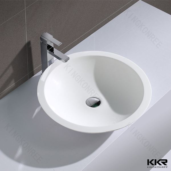 White artificial stone round wash basin, shell shape basin