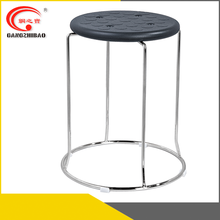 round shaped design chromed steel frame leather stacking circle chair