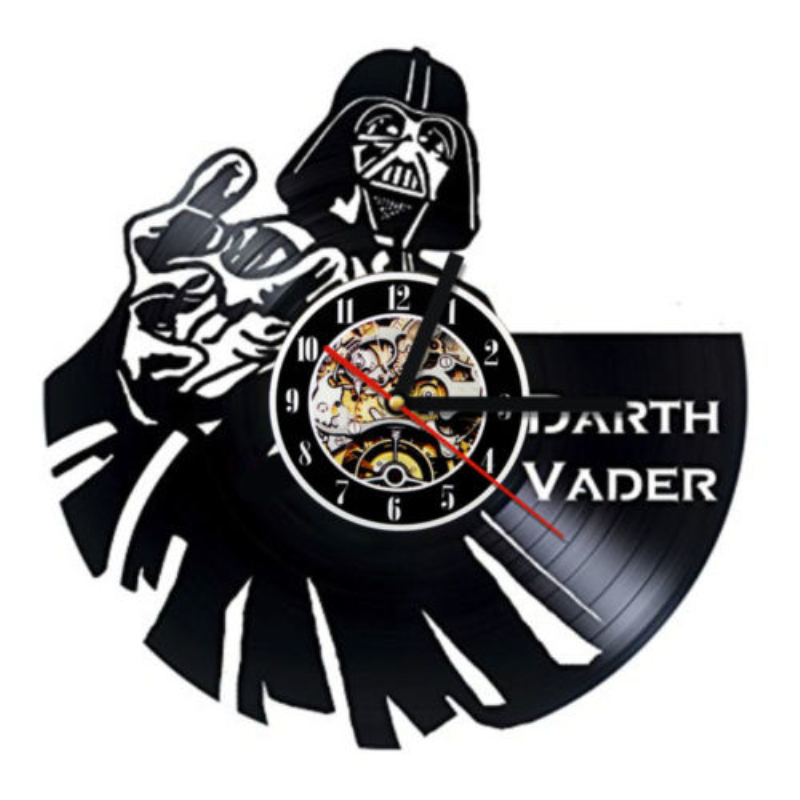 "Stormtrooper Artisan Darth Vader Laser-Engraved Vinyl Record Wall Clock and 12"" Movie Theme Art Decoration Clocks Home Deco"