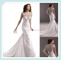 New arrive Custom made dress factory scoop neck pleated beaded short sleeve wedding dress robe de mariage
