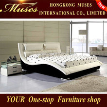 2014 new Bedroom furniture indonesia,futon,white modern leather bed for Christmas promotion