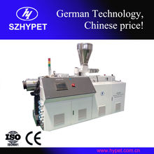 New condition high output conic twin screw plastic recycling extruder