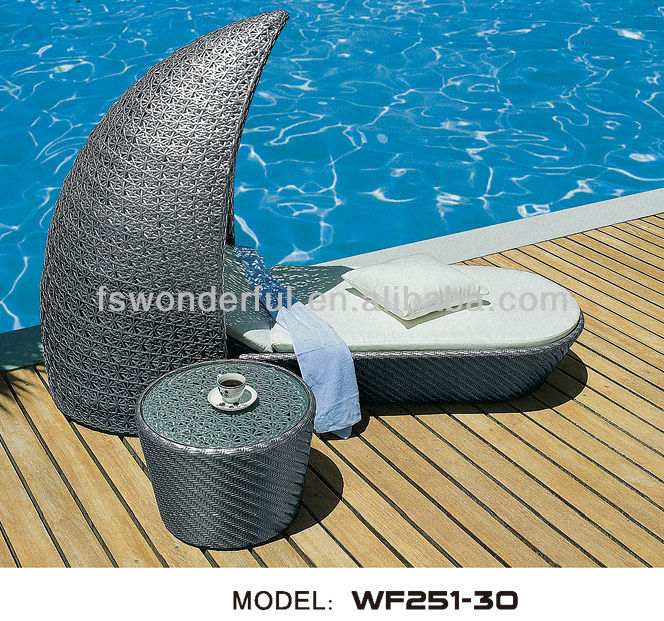 WF251-30 patio rattan sun lounge with canopy