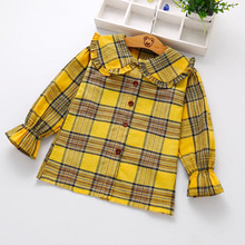 New Coming Trendy Style Plaid Lovely Little Girl Blouse Designs