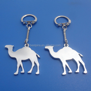 Silver blank logo camel design chrome sublimation metal keyrings
