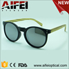 Round shape plastic wholesale sunglasses with wooden temple