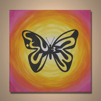 Handmade Wholesale Hand Painted Butterfly Painting
