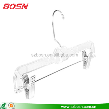 Custom clear acrylic clothes swing hanger with stainless for hotel and home accessories set