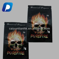 laminated custom 3g purefire botanical potpourri herbal incense bag with ziplock and tear