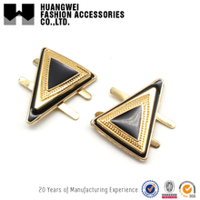 Elegant deisgn gold triangle metal ladies fancy luxury shoe buckles