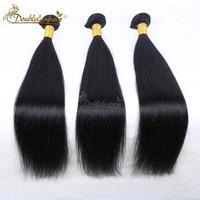 Straight Human Hair Weave Bundles Virgin Malaysian Hair Natural Black Double Strong Weft Silky Straight Hair