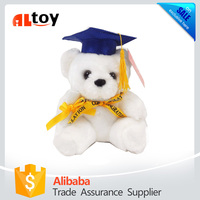 Graduation White Teddy Bear with Diploma and Yellow Ribbon and Blue Hat