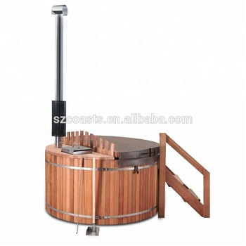 Inner wood fired stove wooden round hot tub