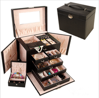 Black luxury leather tabletop jewelry display cases