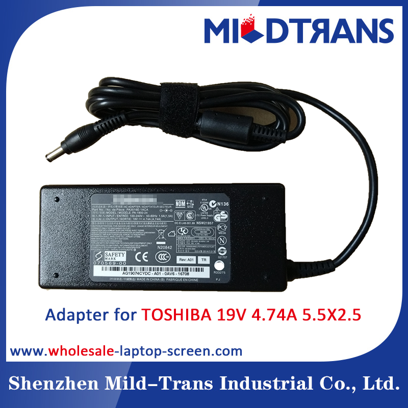 Manufacturer Laptop Charger AC Power Adapter for TOSHIBA 19V 4.74A 90W 5.5X2.5mm