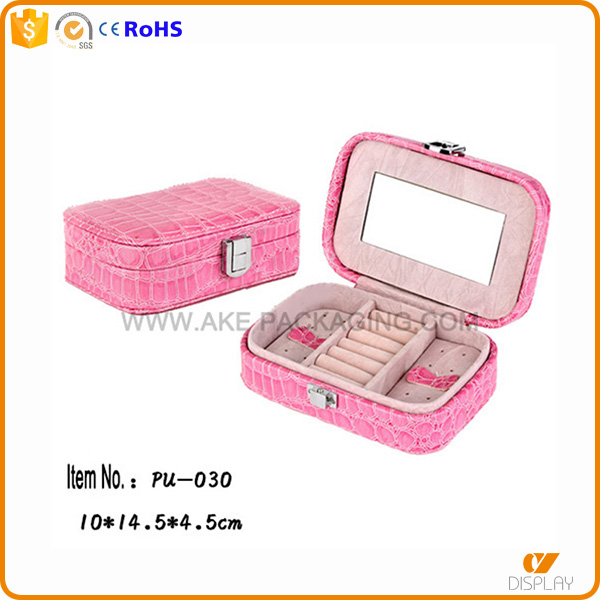 leather finished custom design storage jewelry box case with mirror