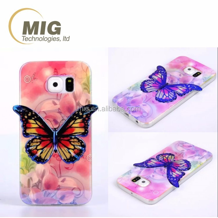 Colorful 3D Blu ray Butterfly tpu Phone Case For samsung s3, For samsung galaxy s3 case
