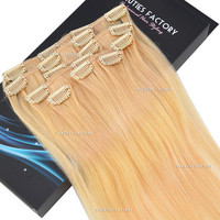 "Beauties Factory 20"" Clip-in Straight Remy Human Hair Extensions 70g #24 Pale Golden Blond"