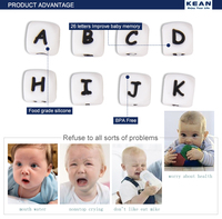 Kean Wholesale food grade baby teething silicone letter beads