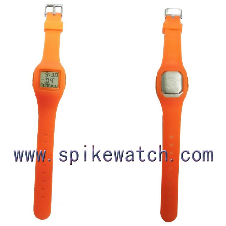 Orange color thin rubber sports watch ultra thin silicone digital watches