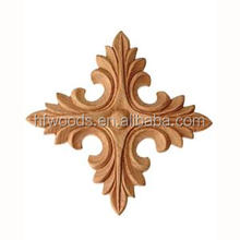 Mass production beech embossed carving hand carved wood appliques and onlays