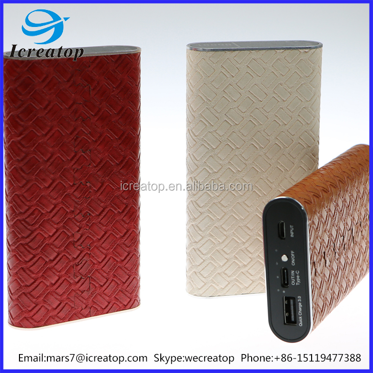 Hot sale quick charge power bank 10000mah, smart phone power bank on sale, new desgin leather power bank