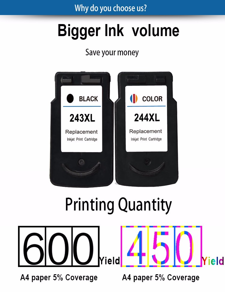PG243 CL244 for Canon ink cartridge compatible for canon MG2920 Printer