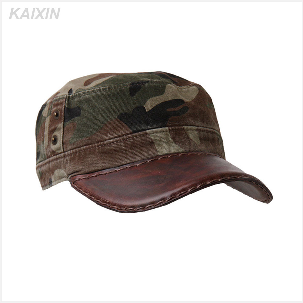 custom plain blank camouflage leather brim flat top military cap hat