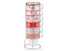 2017 Stackable Coffee Mug w/ Metal Rack Holder Set of 6 Stackable Mug Ceramic Coffee Cup Drinkware from China