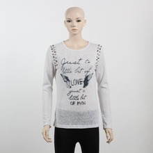 F5W13019 Wholesales Beads Embroidered Printed T Shirts Women White Long Sleeve T Shirts