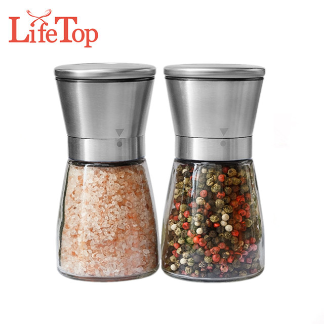 Premium Kitchen Tools Stainless Steel Salt and Pepper Grinder Set of 2