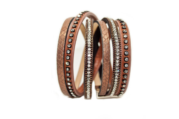 Magnetic buckle multilayer bling leather wrap rhinestone crystal bracelet with tassel