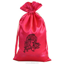custom logo printed satin virgin hair packaging bag