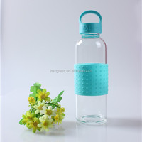 450ml hand made portable outdoor travel school reusable glass drinking water bottle with cover and high quality silicone sleeve