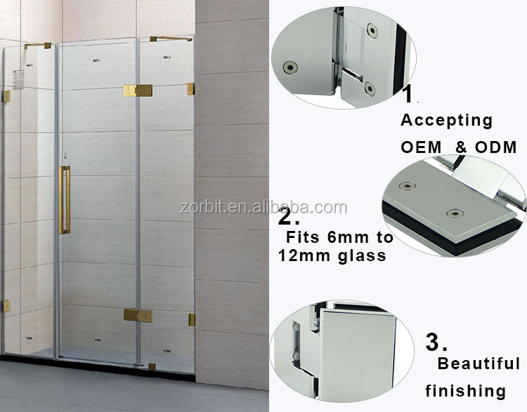 Best selling sus304 mirror chrome bathroom door bisagra glass shower door pivot hinge