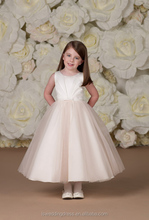 HF2141 Simple jewel neck white gathered satin top pink tiered tulle A-line tea length ball gown fashion design small girls dress