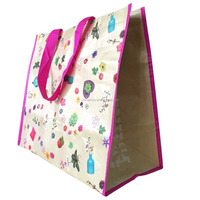 waterproof Kraft Coated colorful printing PP woven shopping bag