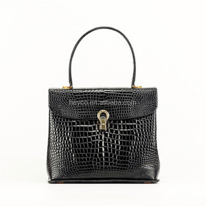 Heyco luxury custom crocodile belly skin leather charm vintage handbag