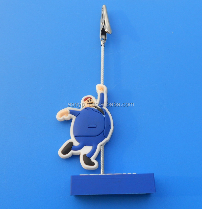 Custom Funny PVC Rubber Memo Clip, Name Card Clips, Memo Holder