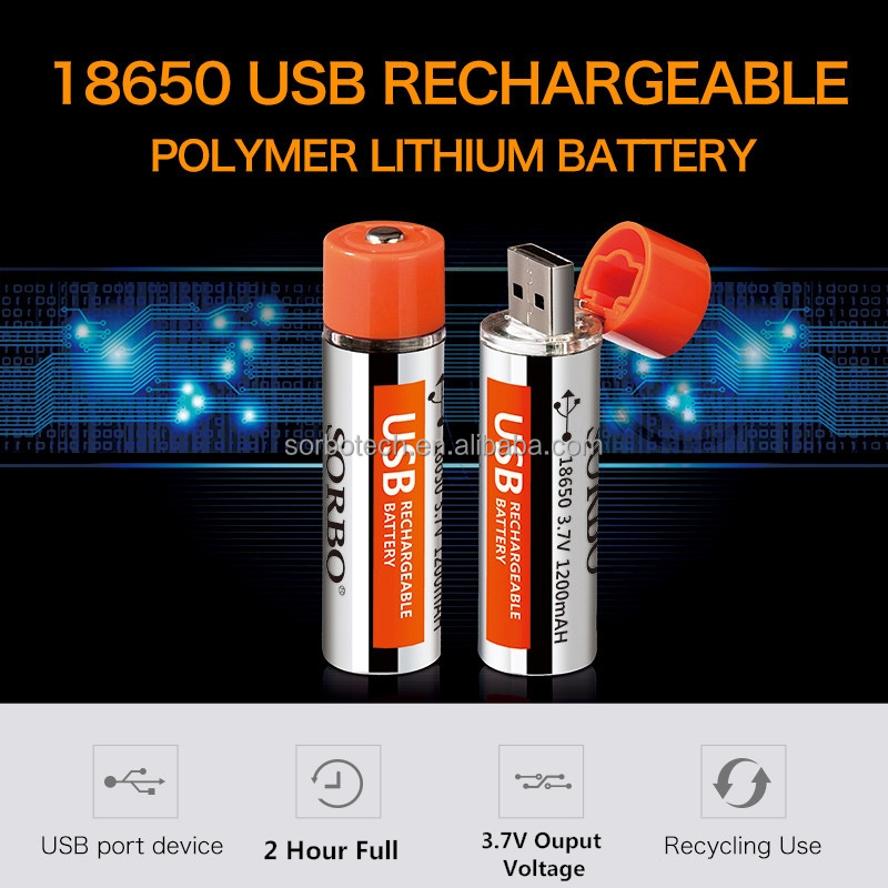 3.7V Rechargeable 18650 Lithium Polymer Battery with 1200mAh Capacity